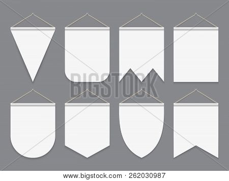 White Pennant. Hanging Empty Fabric Flags. Advertising Canvas Outdoor Banners. Pennants Vector Mocku