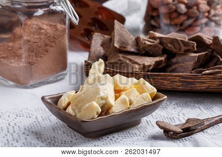 Preparation Handmade Chocolate Candies. Ingredients For Making Chocolate - Raw Cocoa Powder, Cocoa M