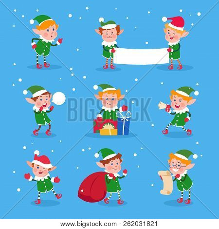 Christmas Elf. Baby Elves Santa Claus Helpers. Funny Winter Dwarf Vector Characters. Illustration Of
