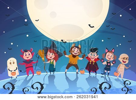 Happy Halloween Background. Monsters And Kids In Costumes. Halloween Party Poster Or Invitation Vect