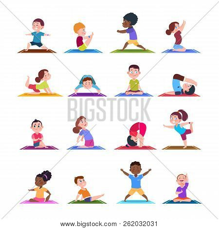 Children In Yoga Poses. Cartoon Fitness Kids In Yoga Asana. Vector Characters Isolated Set. Illustra