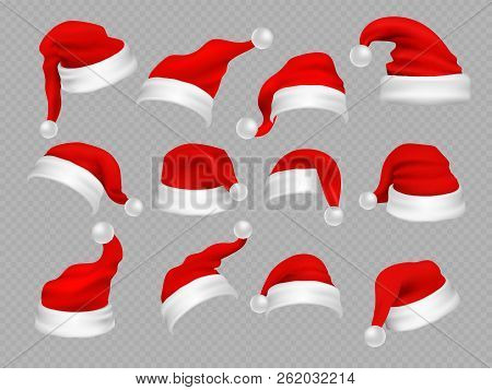 Big Set Of Realistic Santa Hats Isolated On Transparent Background. Vector Santa Claus Hat Colllecti