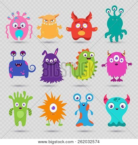 Cute Cartoon Baby Monsters Vector Isolated On Transparent Background. Monster Baby, Alien Or Beast C