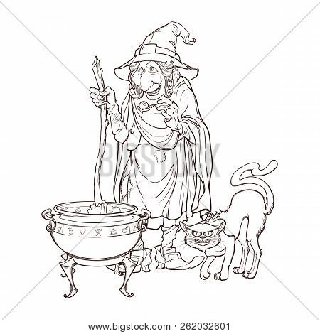 Old Witch In A Cone Hat With Her Black Cat Brewing A Magic Potion In A Cauldron. Halloween Cartoon S