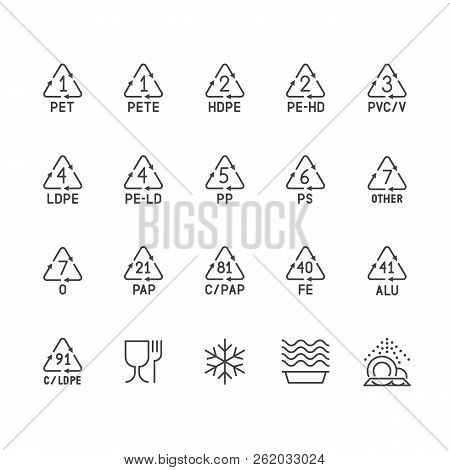 Plastic Packaging Line Icons. Waste Recycling Symbols Polyethylene, Pvc, Pet Package. Vector Signs O