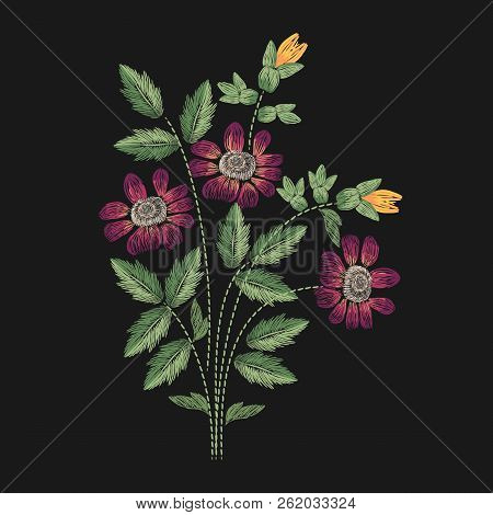 Meadow Flower Embroidered With Pink, Yellow And Green Stitches On Black Background. Elegant Embroide