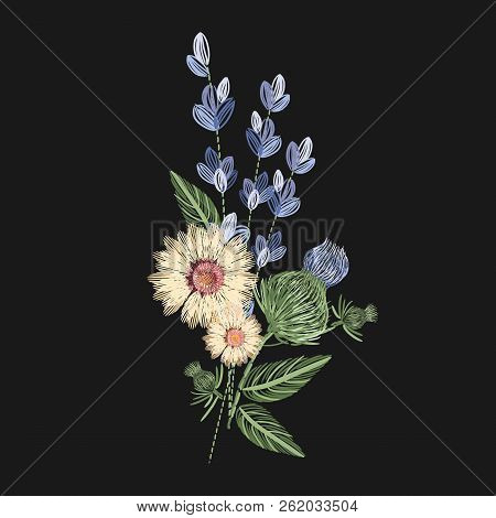 Bouquet Of Wild Flowers Embroidered With Colorful Threads On Black Background. Embroidery Design Wit