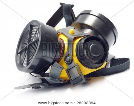 Respirator with interchangeable filter cartridges shot over white