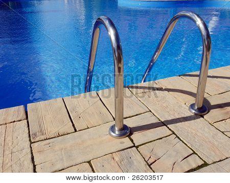 Swimming pool edge with steel handle bars