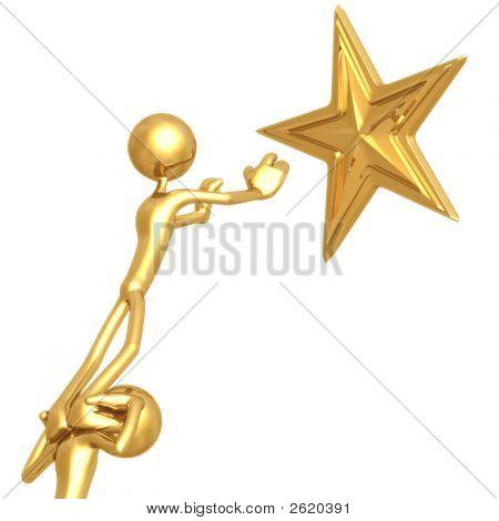 Teamwork Reaching For Golden Star