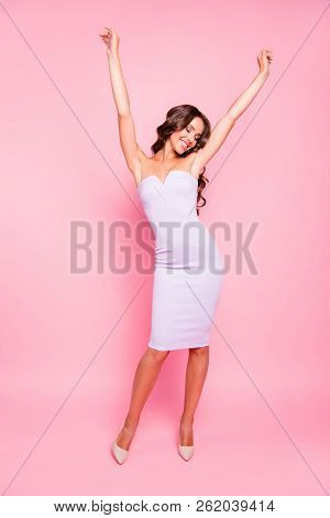 Full Length Body Size Of Nice Adorable Attractive Cute Gorgeous Cheerful Positive Wavy-haired Girl I