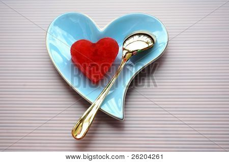 A plate of love ( heart shape jelly on heart shape plate)
