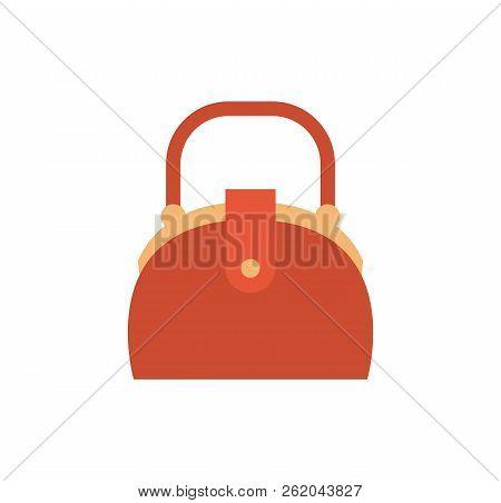 Cute Vanity Box, Curved Shape Handle, Red Leather Handbag, Female Bag With Metal Elements Cartoon Ve