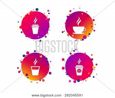 Coffee Cup Icon. Hot Drinks Glasses Symbols. Take Away Or Take-out Tea Beverage Signs. Gradient Circ