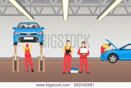 Auto Service In Spacious Garage Vector Banner, Colorful Illustration Of Vehicle Workshop, Profession