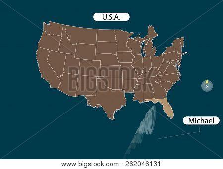 Territory Of United States Of America. Florida. Hurricane - Storm Michael. Hurricane Damage. Vector