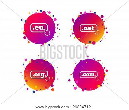 Top-level Internet Domain Icons. Com, Eu, Net And Org Symbols With Hand Pointer. Unique Dns Names. G