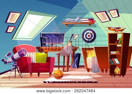 Teen Boy Kid Attic Room Interior Vector Illustration. Comfortable Bedroom Furniture, Bookshelf Or Co