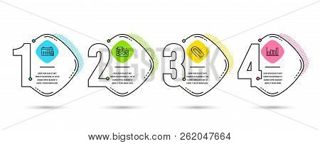 Infographic Template 4 Options Or Steps. Set Of Accounting Report, Calendar And Paper Clip Icons. Re