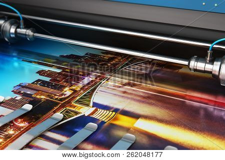 3d Render Illustration Of Printing Photo Banner On Large Format Color Plotter In Typography Or Print