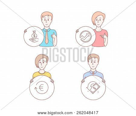 People Hand Drawn Style. Set Of Exchange Currency, Income Money And Audit Icons. Cashback Sign. Resh