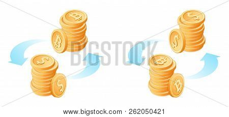 The Exchange Of Bitcoins To Dollars Currency Conversion Process Flat Vector Isometric Ilra