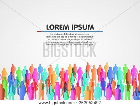 Large Group Of People On White Background. Vector Background