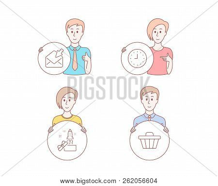 People Hand Drawn Style. Set Of Clock, Open Mail And Innovation Icons. Shop Cart Sign. Time Or Watch