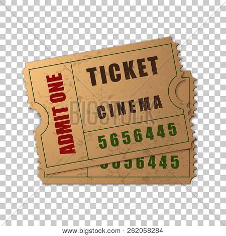 Realistic Two Vintage Cinema Tickets Isolated Object On Transparent Background. Cinema, Theater, Con
