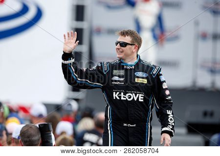 September 30, 2018 - Concord, North Carolina, USA: Michael McDowell (34) reacts to the fans as he gets ready to see the Bank of America ROVAL 400 at Charlotte Motor Speedway
