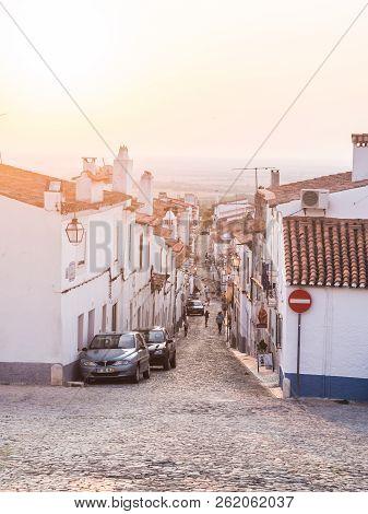 Estremoz, Portugal - August 22, 2018: Direita Street In Estremoz, Evora District, Portugal, At Sunse