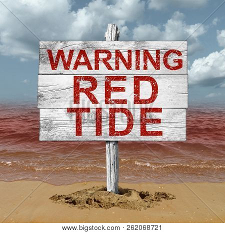 Red Tide Beach Warning Sign As Hazardous Natural Toxin In The Ocean Or Sea As A Concept For Deadly N