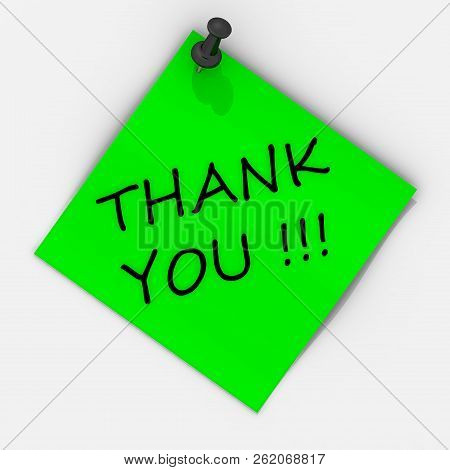 Thank you! Note paper with pushpin. Green sheet for notes fastened on a white wall with use black pushpin and inscription THANK YOU! 3D Illustration poster