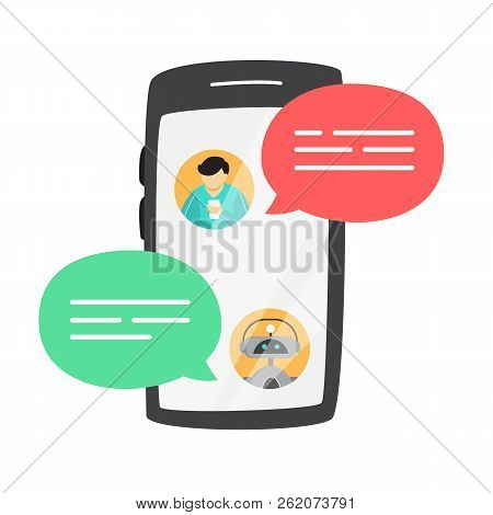 Man Talking To A Chatbot Online On Smartphone.