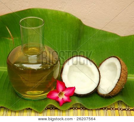 Coconut oil on banana leaf