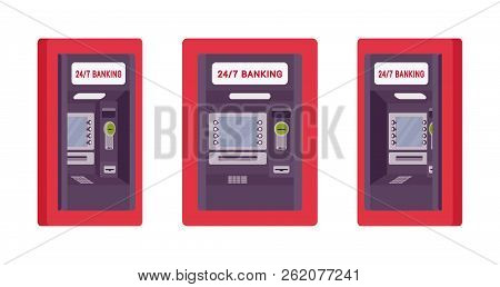 Atm Built In A Wall, Red Color. Automated Teller Machine, Banking Service To Perform Safe Financial