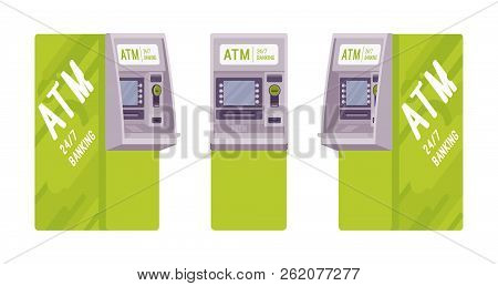 Automated Teller Machine In A Green Color. Free-standing Atm For Customers, Electronic Banking Outle