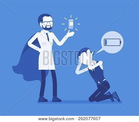 Doping for male clerk. Office worker exhausted with routine, worn out, weary, at power limit, zero productivity getting a drug from doctor to raise strength. Vector illustration, faceless characters poster
