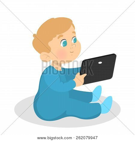 Little Kid Playing With A Tablet Computer