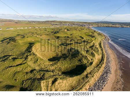 Scenic Aerial Birds Eye Irish Landscape View Of Lahinch In County Clare, Ireland. Beautiful Lahinch