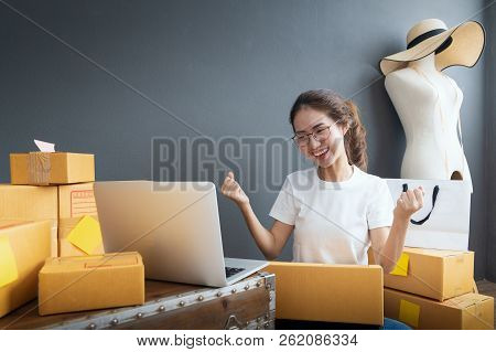 Young Women Happy After New Order From Customer, Business Owner Working At Home Office Packaging On
