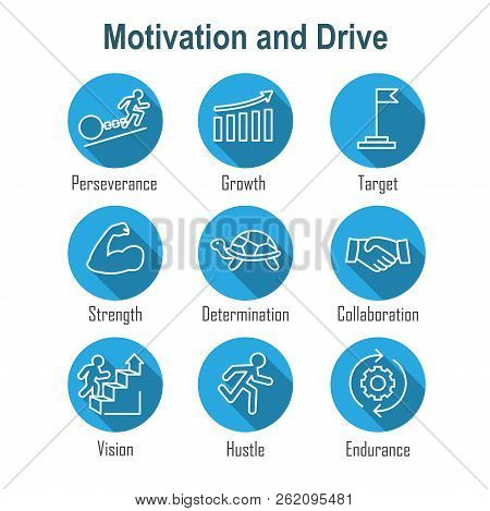 Persistence Icon Set - Image Of Extreme Motivation And Drive Set On Persevering