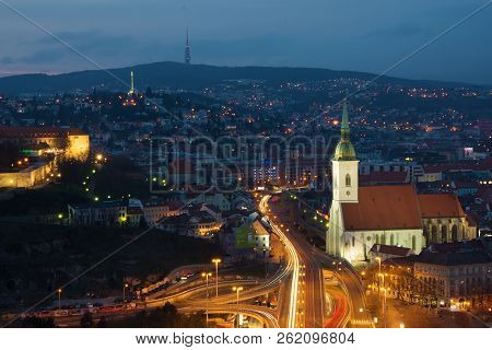 Cityscape Of Bratislava.the Capital City Of Slovakia. View Of The Bratislava Castle And Cathedral