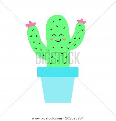 Cute Cactus Vector Illustration Drawing, Phosphorus Green Cacti In Baby Blue Flowerpot. Cactus In Pl
