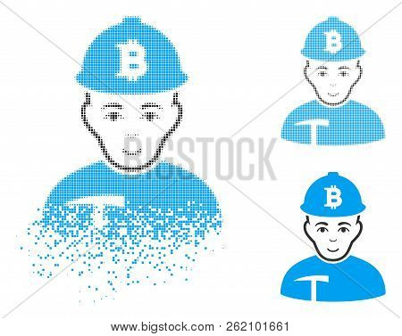 Bitcoin Miner Icon With Face In Dispersed, Pixelated Halftone And Undamaged Entire Variants. Cells A