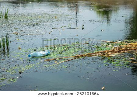 Water Pollution Environmental. Green Plastic Bottles And Garbage In The City River Water. Environmen