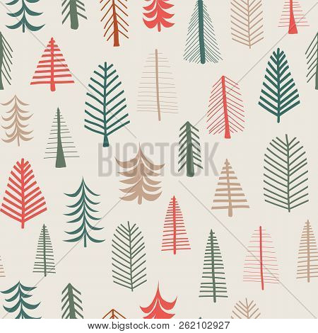 Christmas Tree Background. Vector Seamless Pattern Repeat Tile. Green, Brown, Red Doodle Tree. Chris