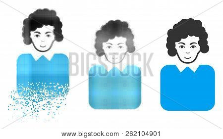 Bureaucrat Lady Icon With Face In Dissipated, Pixelated Halftone And Undamaged Entire Variants. Piec