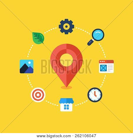 Local Seo. Location Based Seo. Flat Design Modern Vector Illustration Concept.