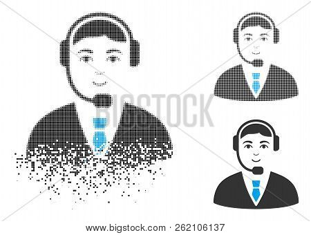 Call Center Operator Icon With Face In Disintegrated, Pixelated Halftone And Undamaged Whole Variant